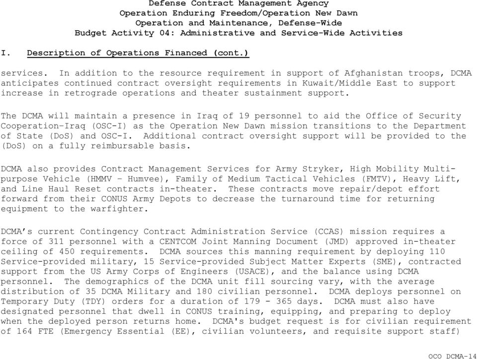 Defense Contract Management Agency Operation Enduring