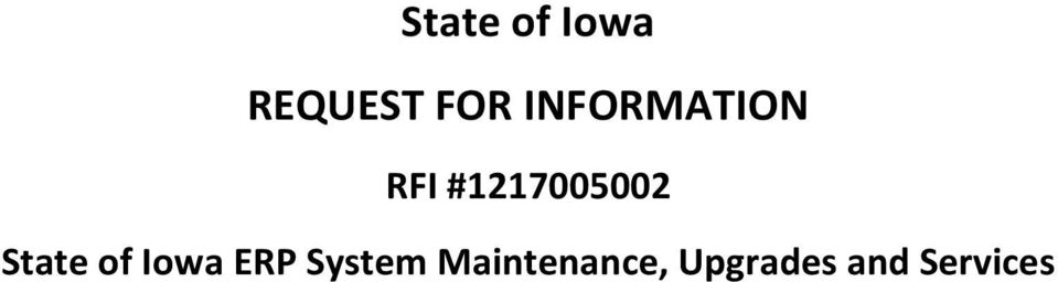 State of Iowa ERP System