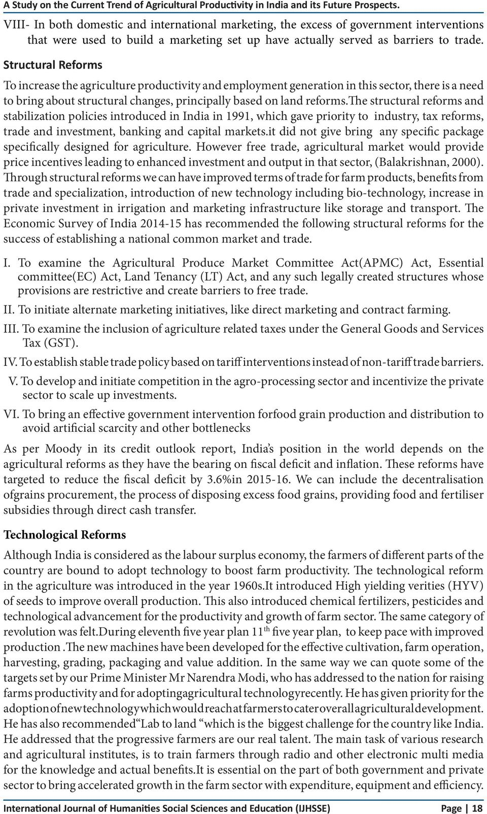 A Study on the Current Trend of Agricultural Productivity in
