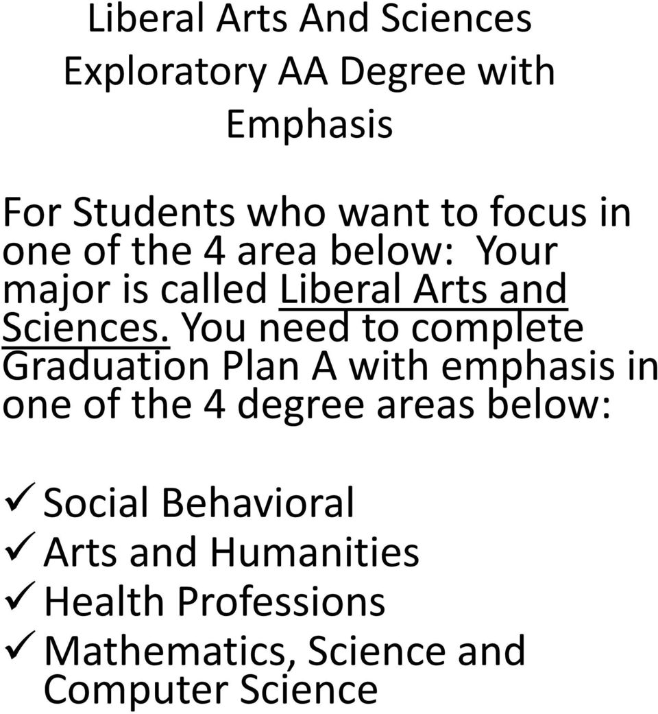 You need to complete Graduation Plan A with emphasis in one of the 4 degree areas below:
