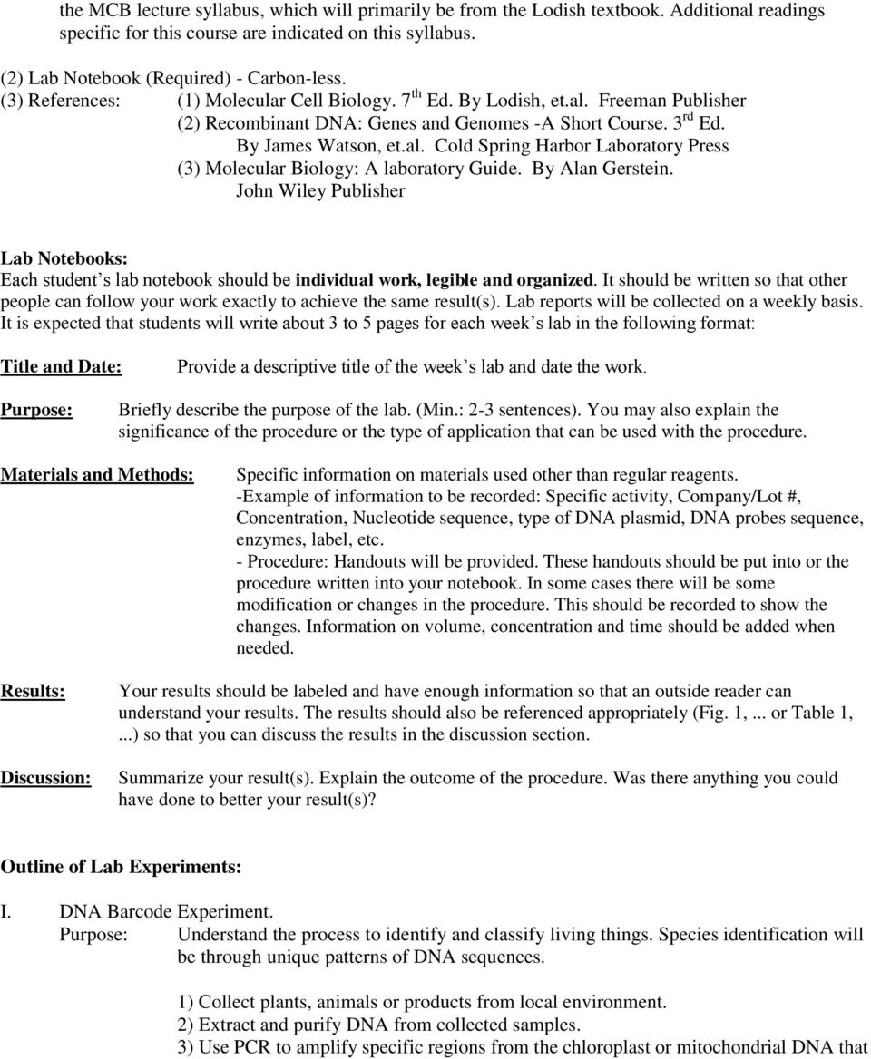 Molecular And Cell Biology Laboratory Biol Ua 223 Instructor Ignatius Tan Phone Office 764 Brown Pdf Free Download