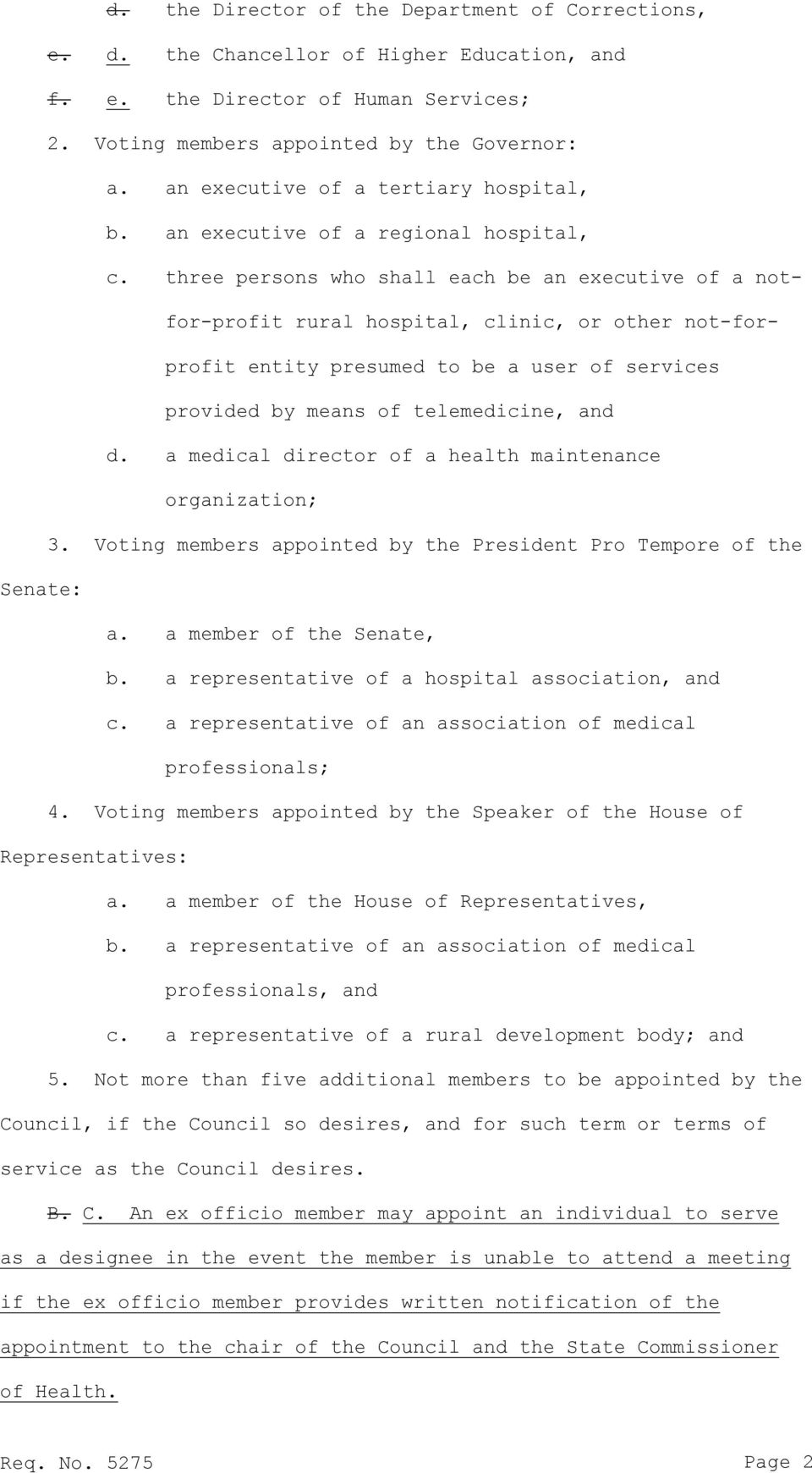 three persons who shall each be an executive of a notfor-profit rural hospital, clinic, or other not-forprofit entity presumed to be a user of services provided by means of telemedicine, and d.