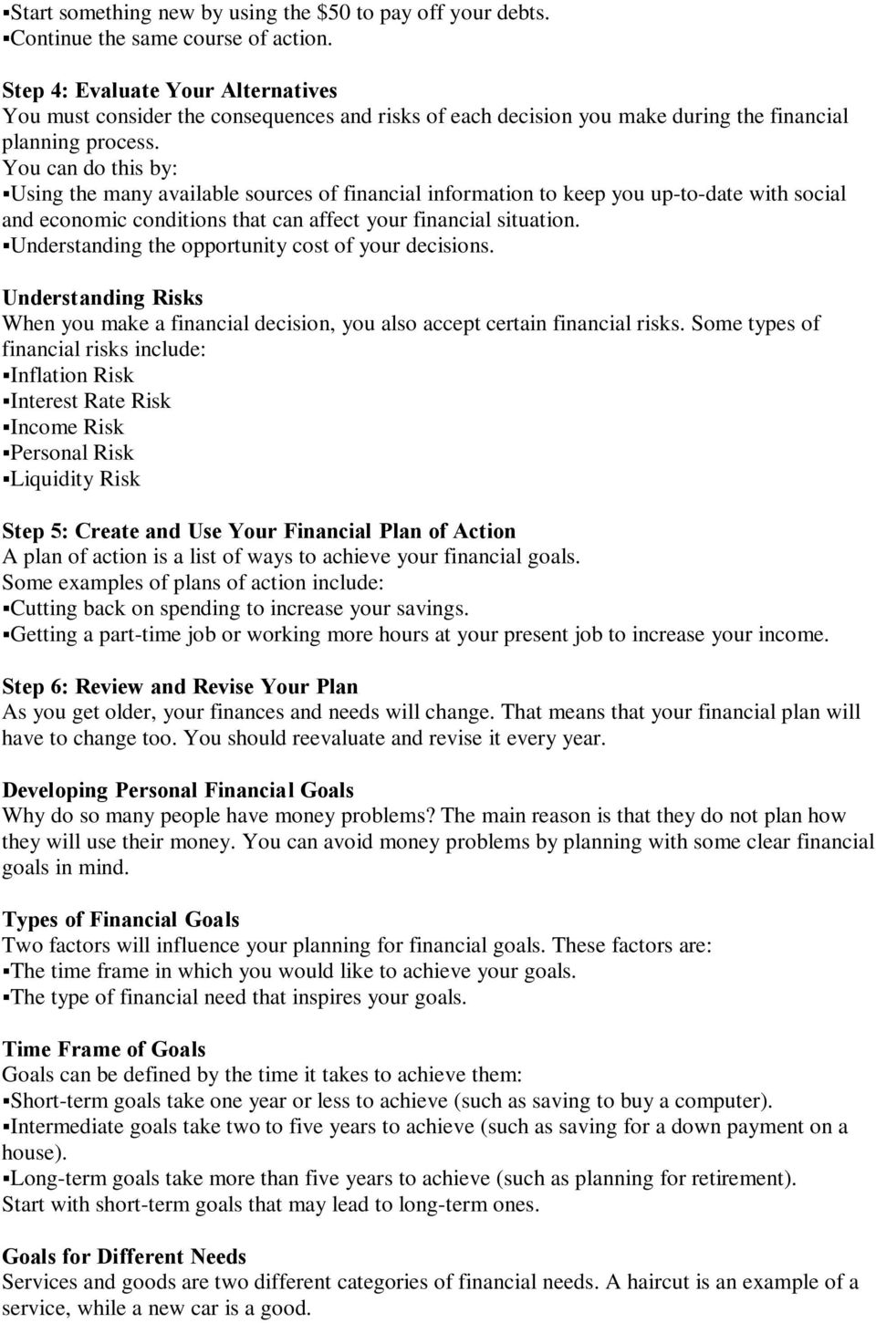 Chapter 1 Personal Financial Planning The Money Plan - PDF