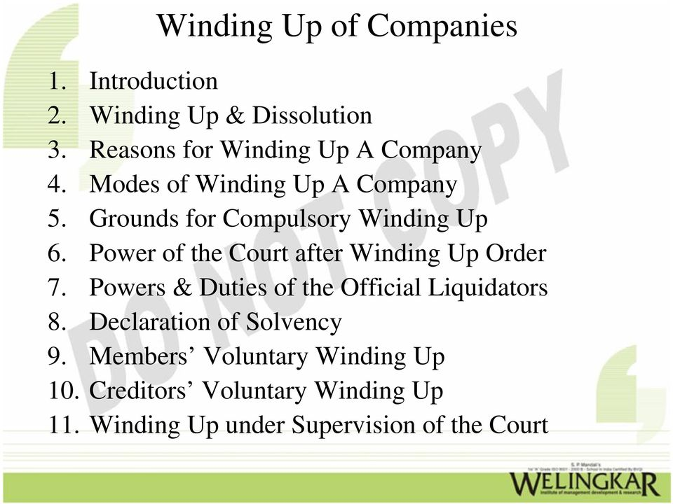 Grounds for Compulsory Winding Up 6. Power of the Court after Winding Up Order 7.