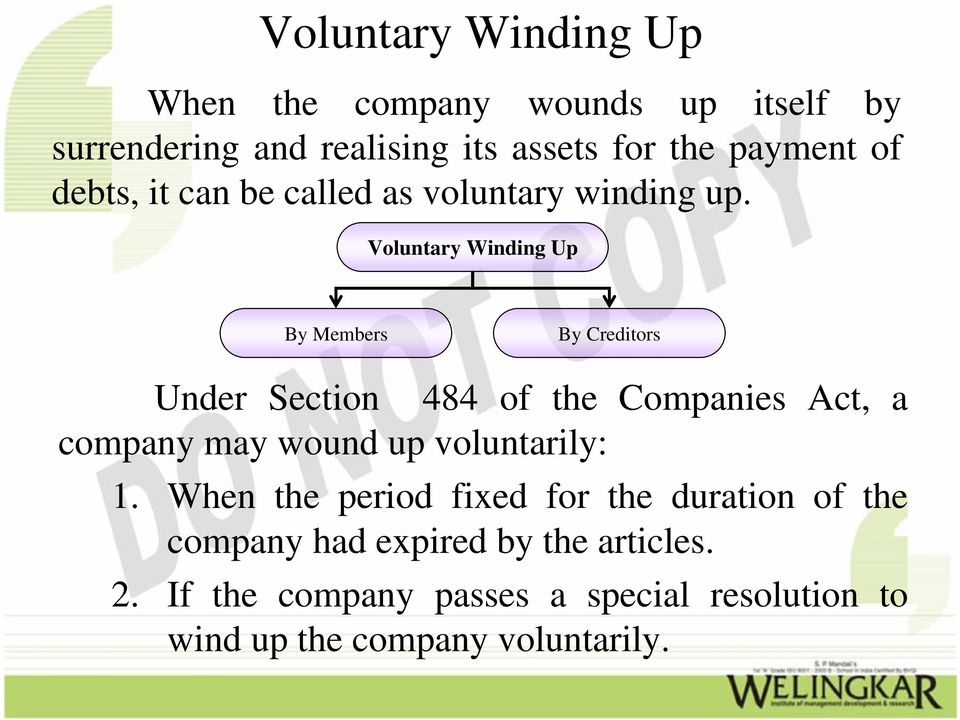Voluntary Winding Up By Members By Creditors Under Section 484 of the Companies Act, a company may wound up