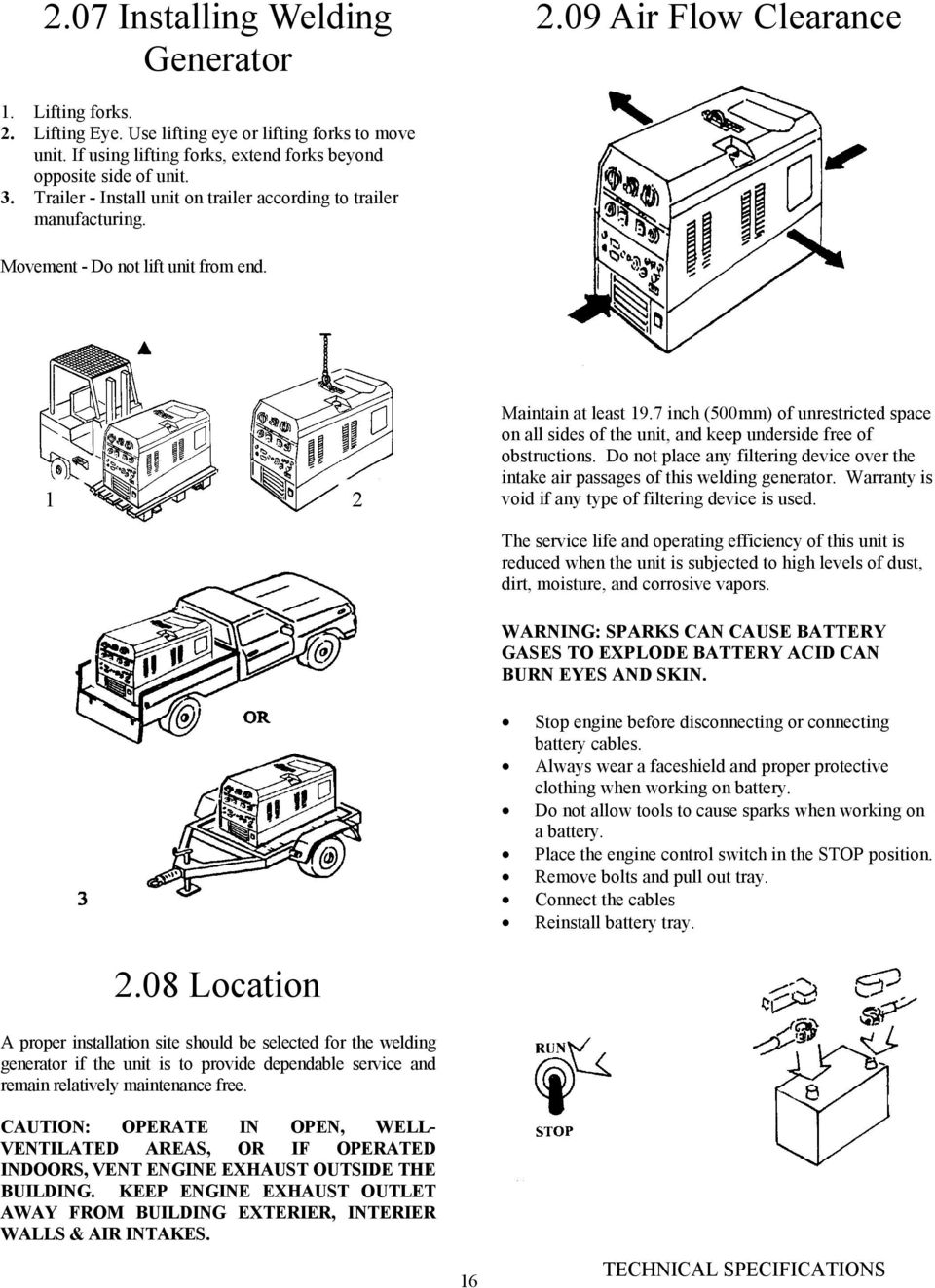 Raider 10000 Pro Owners Manual Dc Cc Cv Welding Generator Stick Schematic Diagram 1 2 Maintain At Least 197 Inch 500mm Of Unrestricted Space On All Sides