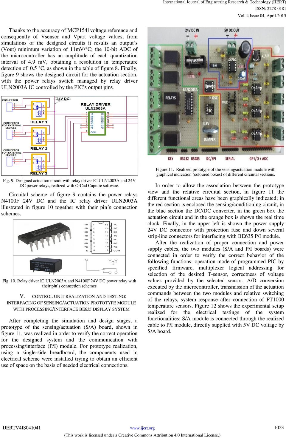 Dc Relay Driver Circuit Ic Uln2003 Thermo Solar Plant Managing And Monitoring By Electronic Finally Figure 9 Shows The Designed For Actuation Section With Power