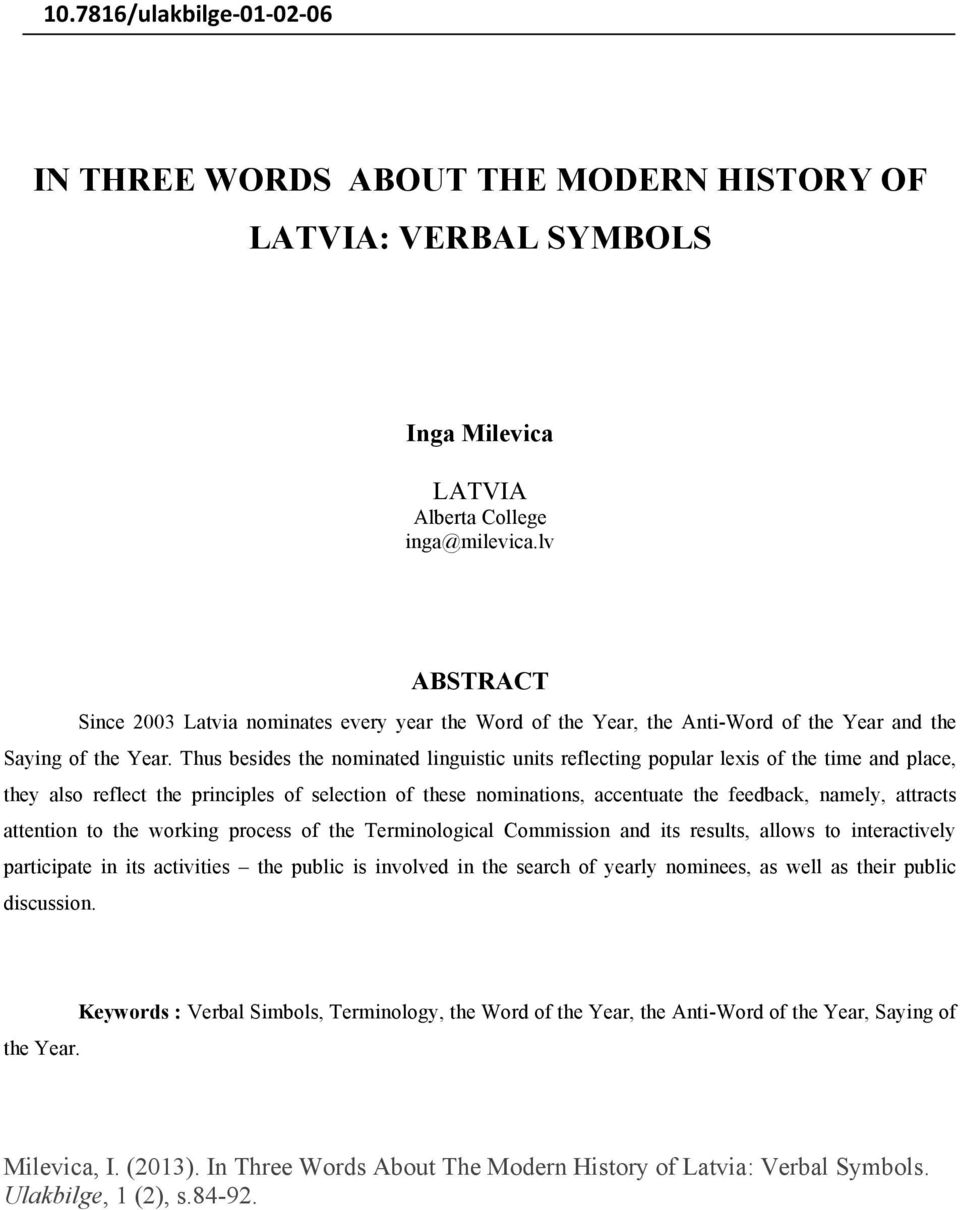 In Three Words About The Modern History Of Latvia Verbal Symbols Pdf