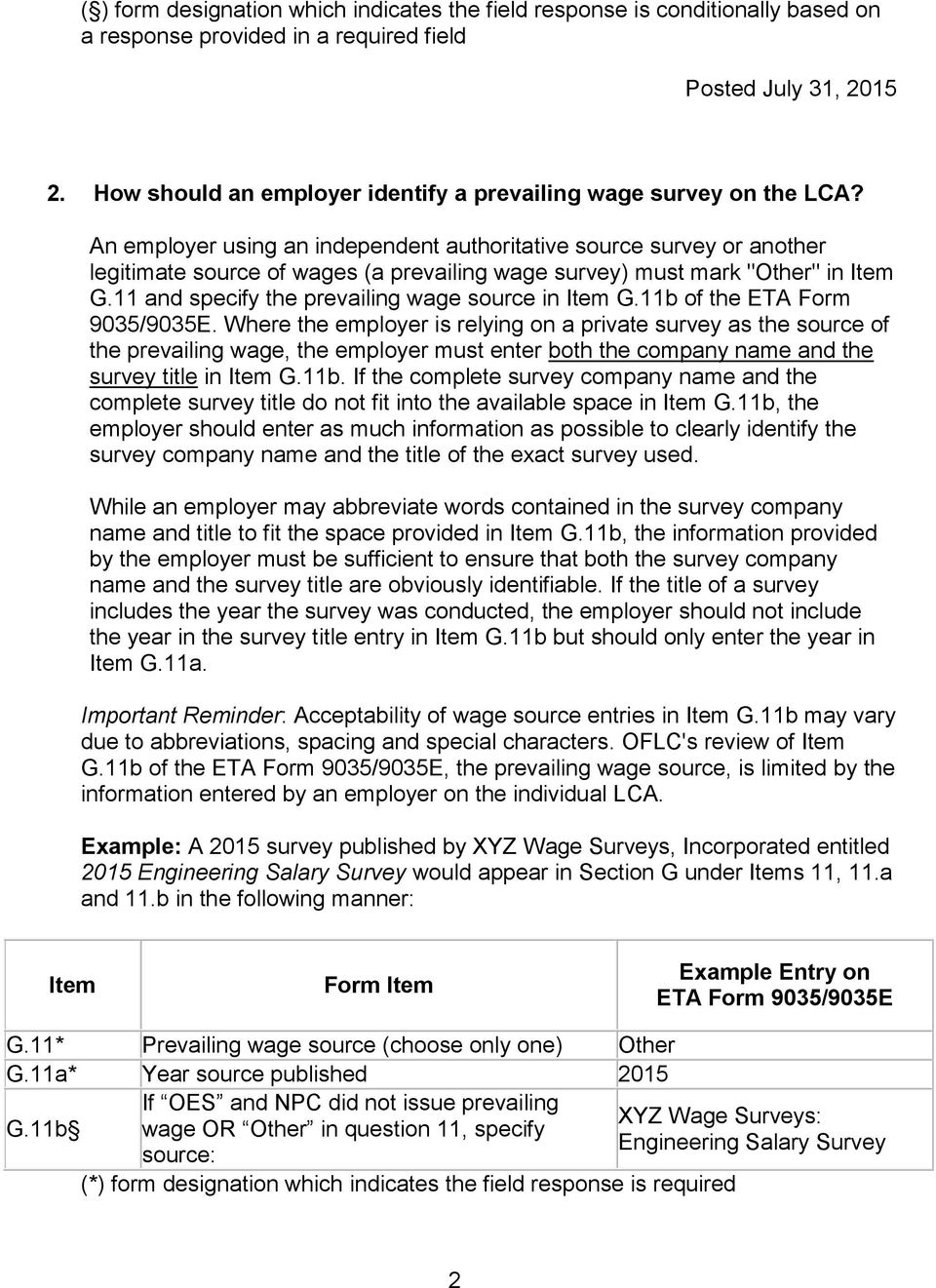 Example Entry on ETA Form 9035/9035E G 7 Agency which issued