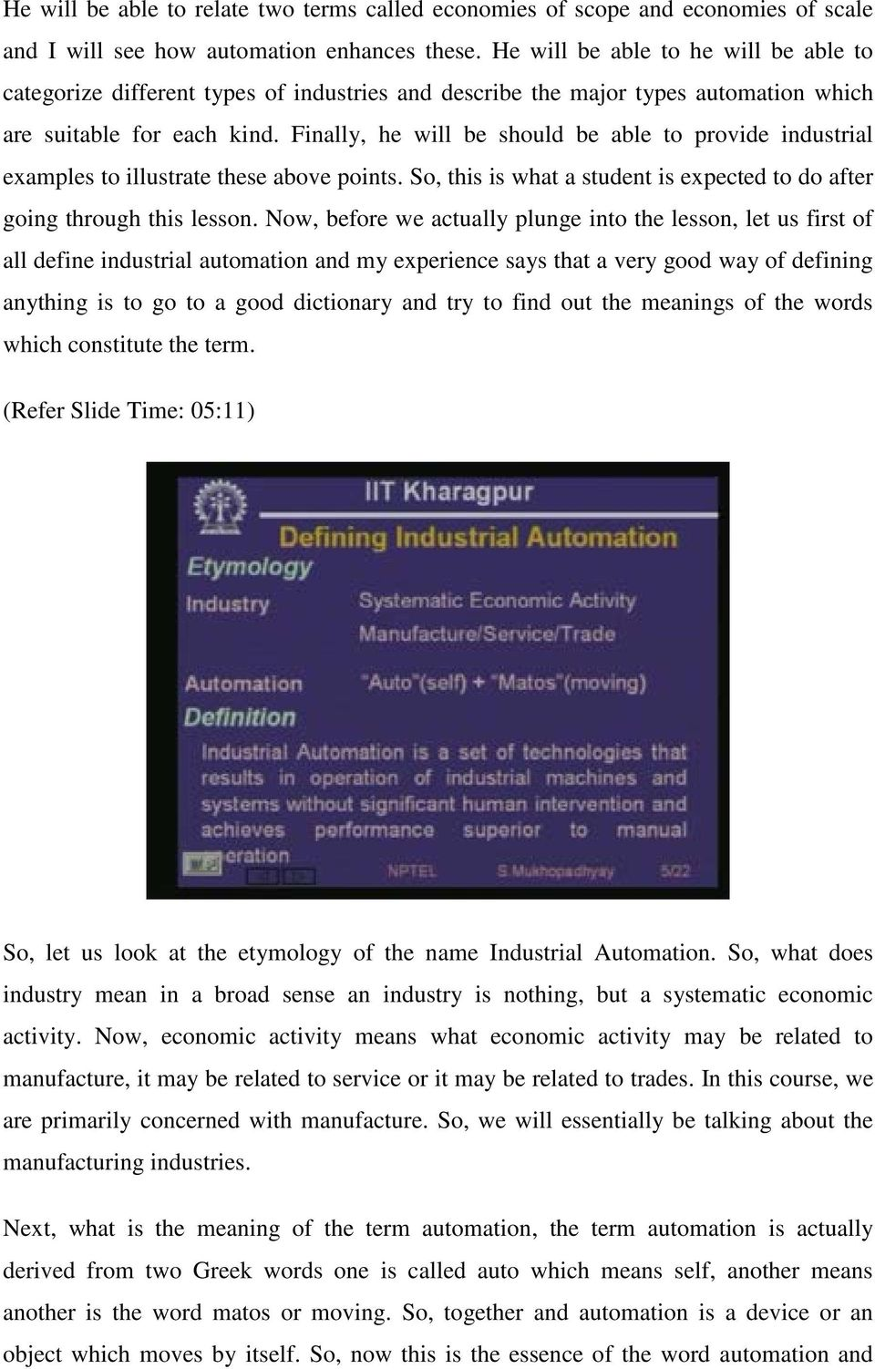 Industrial Automation and Control Prof  S  Mukhopadhyay