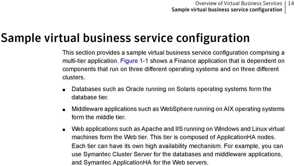 Databases such as Oracle running on Solaris operating systems form the database tier. Middleware applications such as WebSphere running on AIX operating systems form the middle tier.