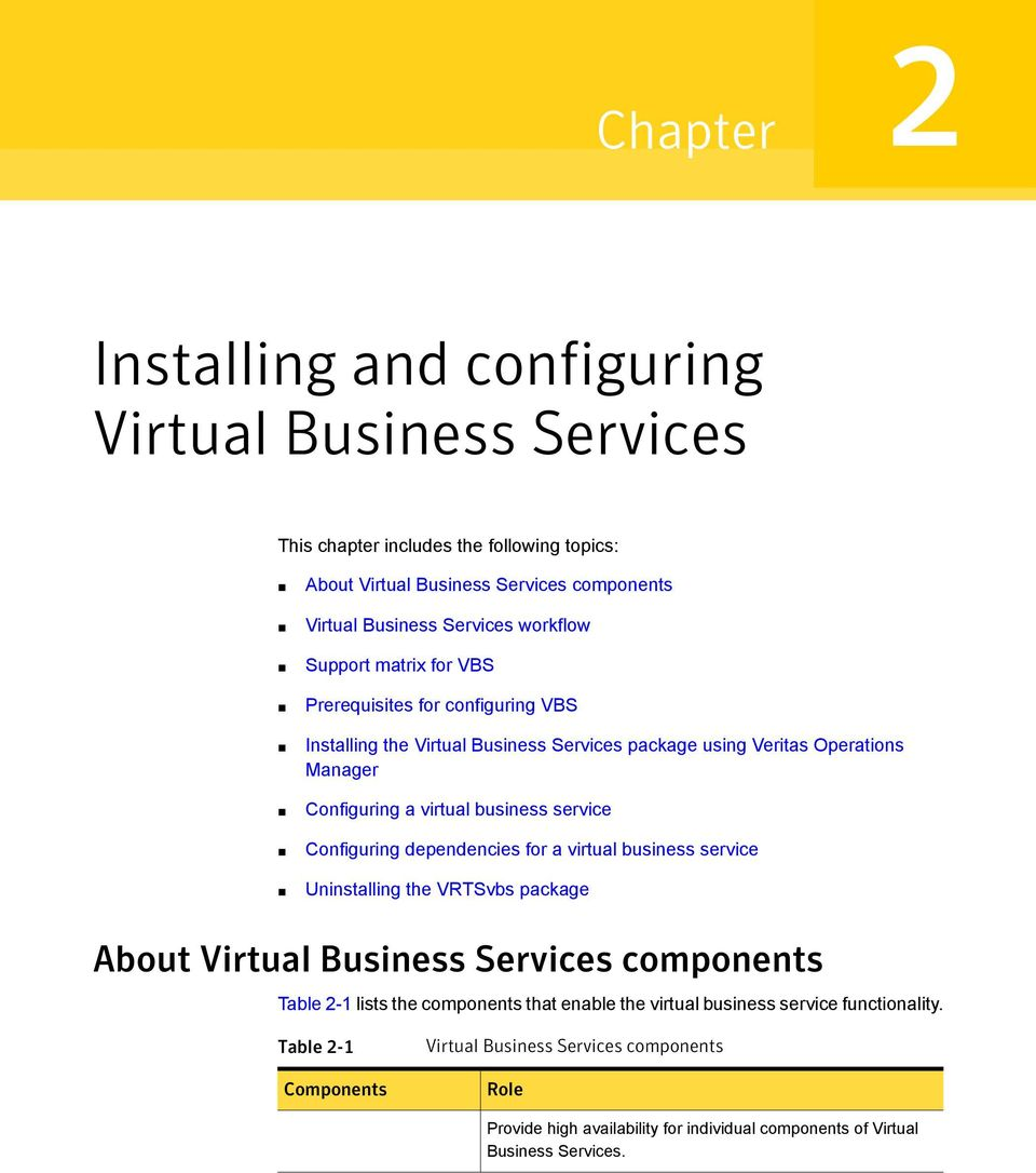 service Configuring dependencies for a virtual business service Uninstalling the VRTSvbs package About Virtual Business Services components Table 2-1 lists the components that