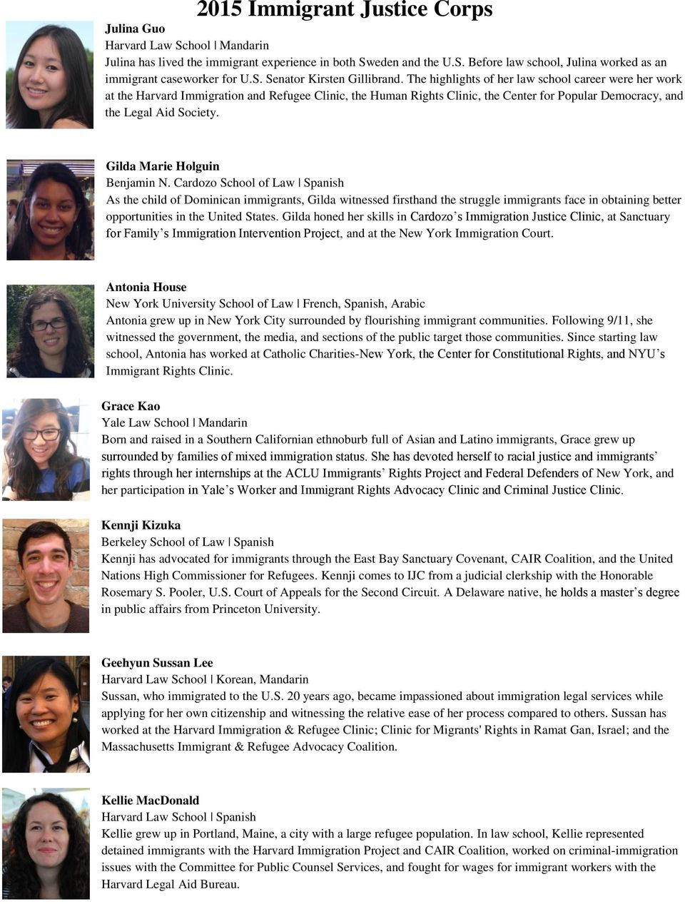 2015 Immigrant Justice Corps Justice Fellows - PDF