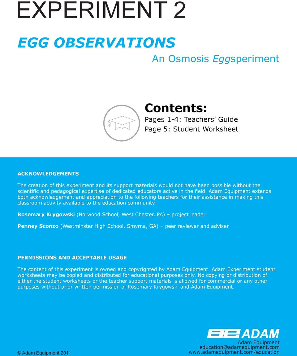 EXPERIMENT 2 EGG OBSERVATIONS. Contents: Pages 1-4: Teachers Guide ...