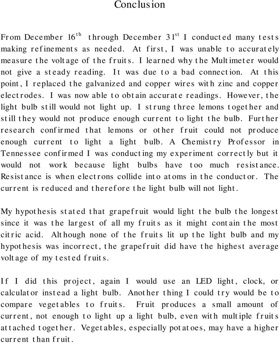 The Electric Fruits By Erika Lindstrom Ms Godric P Pdf Lemon Battery Diagram Vegetable I Was Now Able To Obtain Accurate Readings However Light Bulb Still Would
