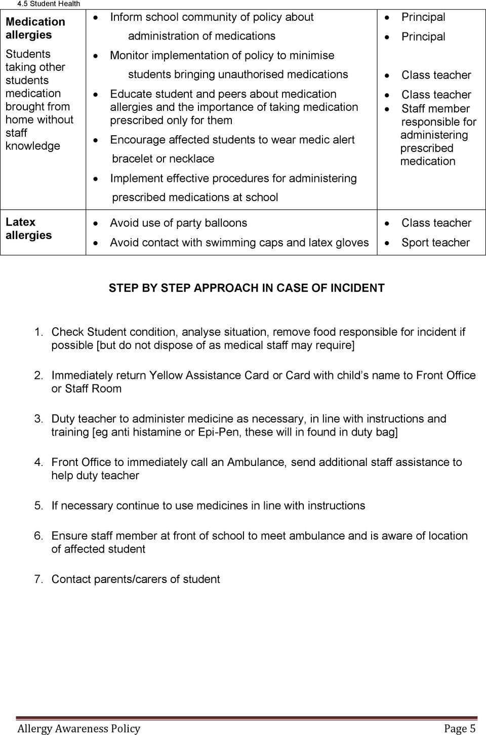 affected students to wear medic alert bracelet or necklace Implement effective procedures for administering Staff member responsible for administering prescribed medication prescribed medications at