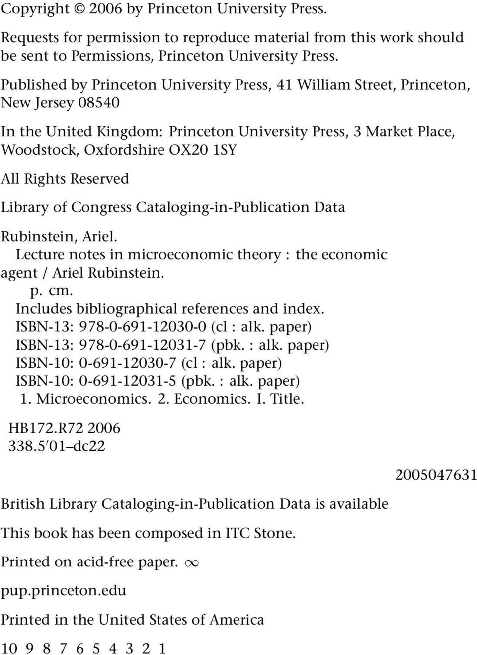 Lecture Notes in Microeconomic Theory - PDF