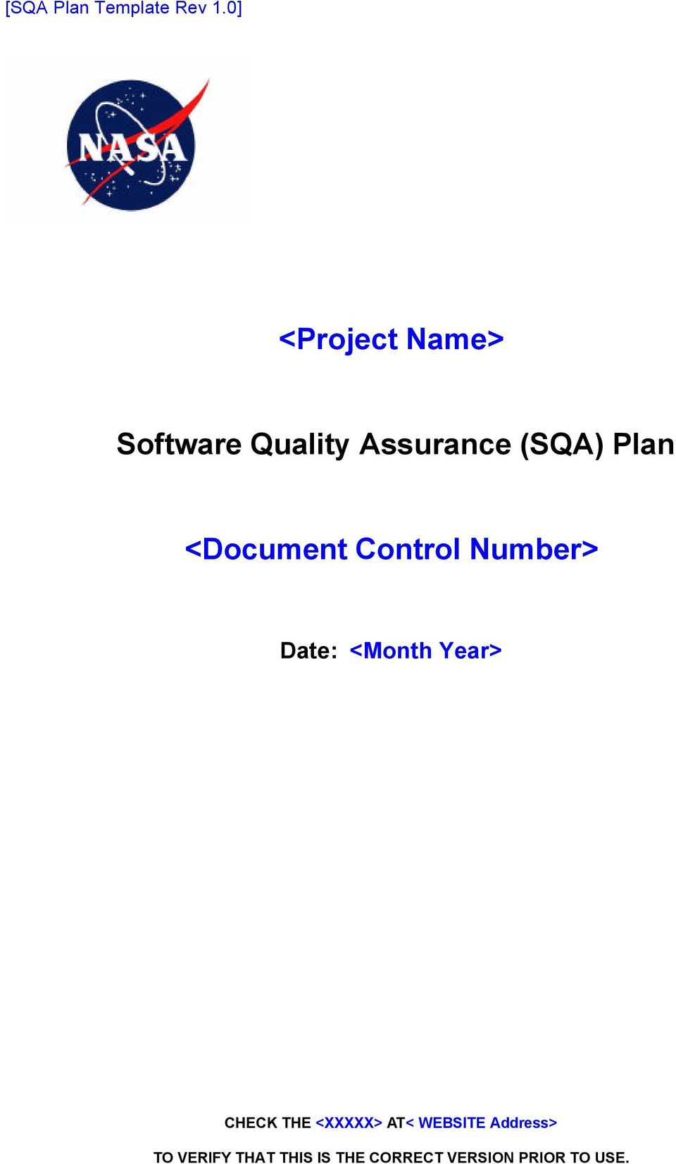 Project Name Software Quality Assurance Sqa Plan