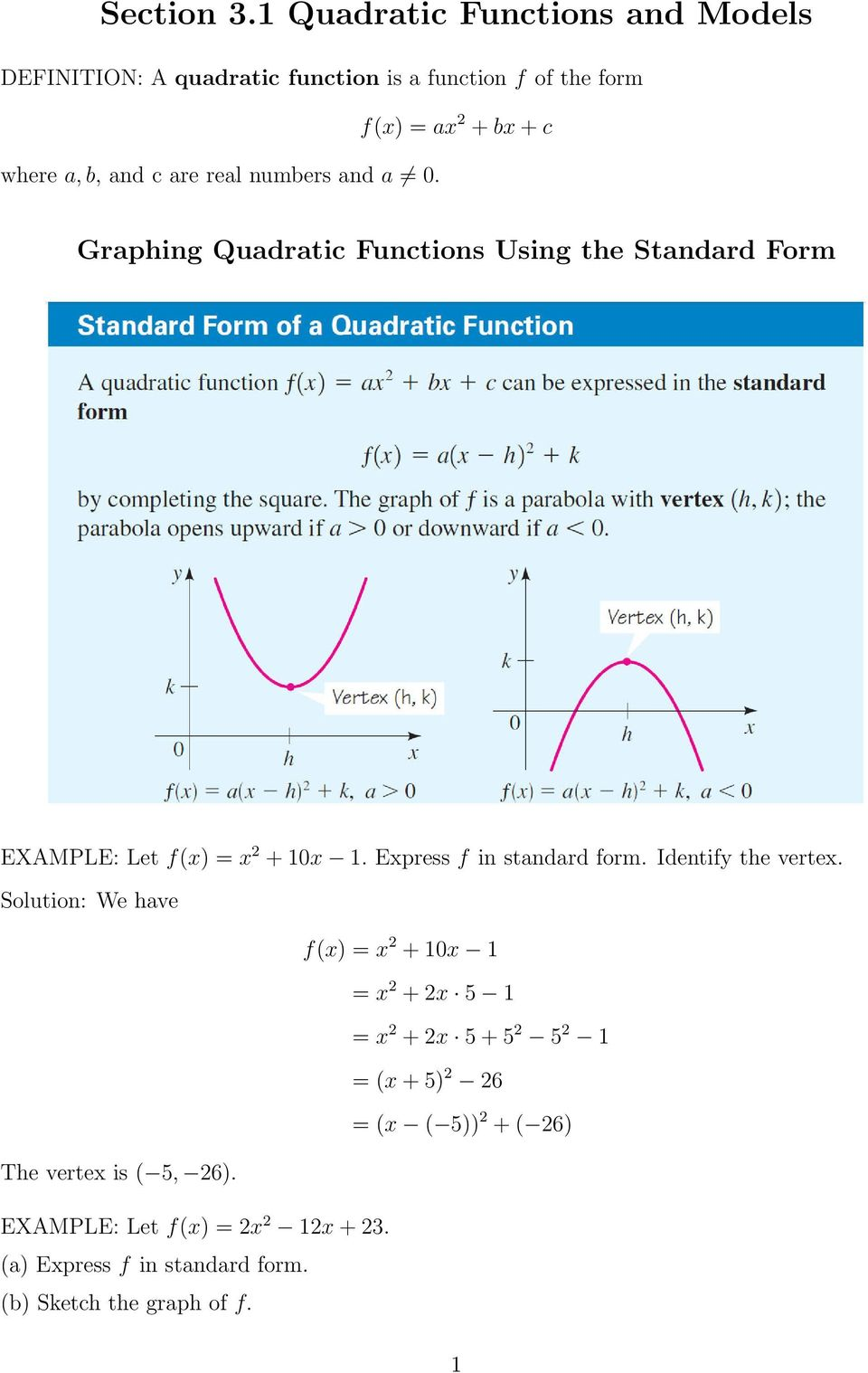 Section 31 Quadratic Functions And Models Pdf