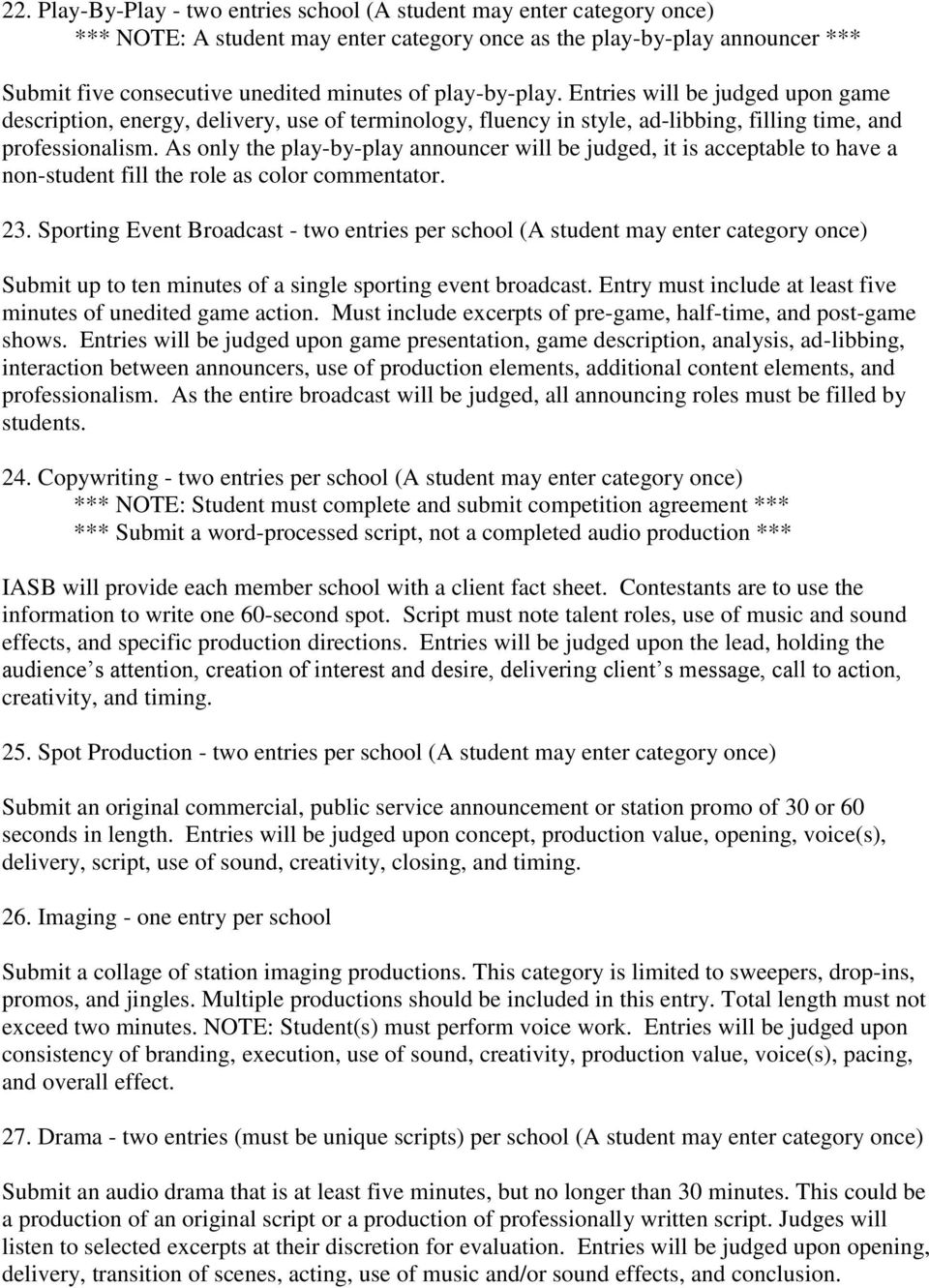 2016 High School Competition Criteria and Rules - PDF