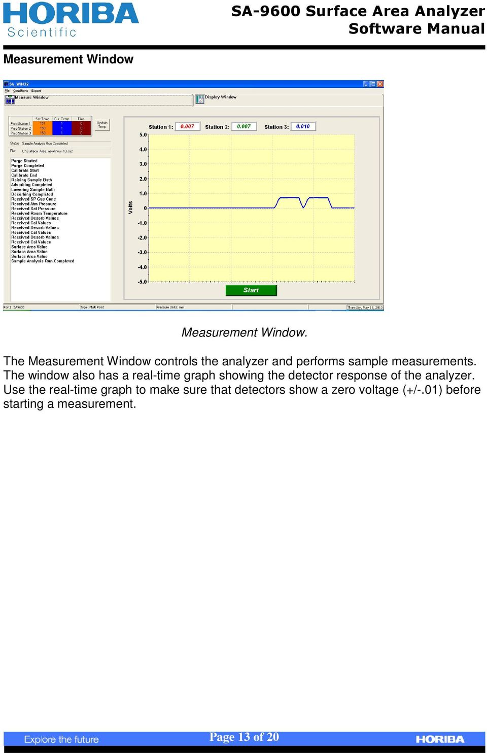 The window also has a real-time graph showing the detector response of the