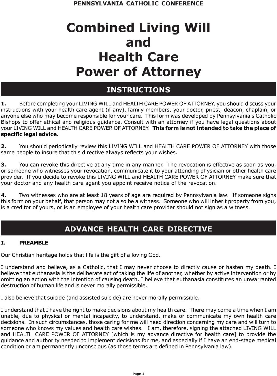 power of attorney form living will  Combined Living Will and Health Care Power of Attorney - PDF ...