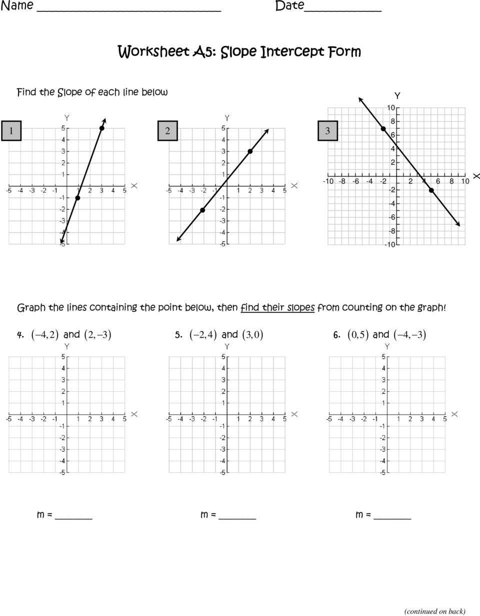 Worksheets Graphing Slope Intercept Form Worksheet worksheet a5 slope intercept form pdf point below then find their slopes from counting on the graph