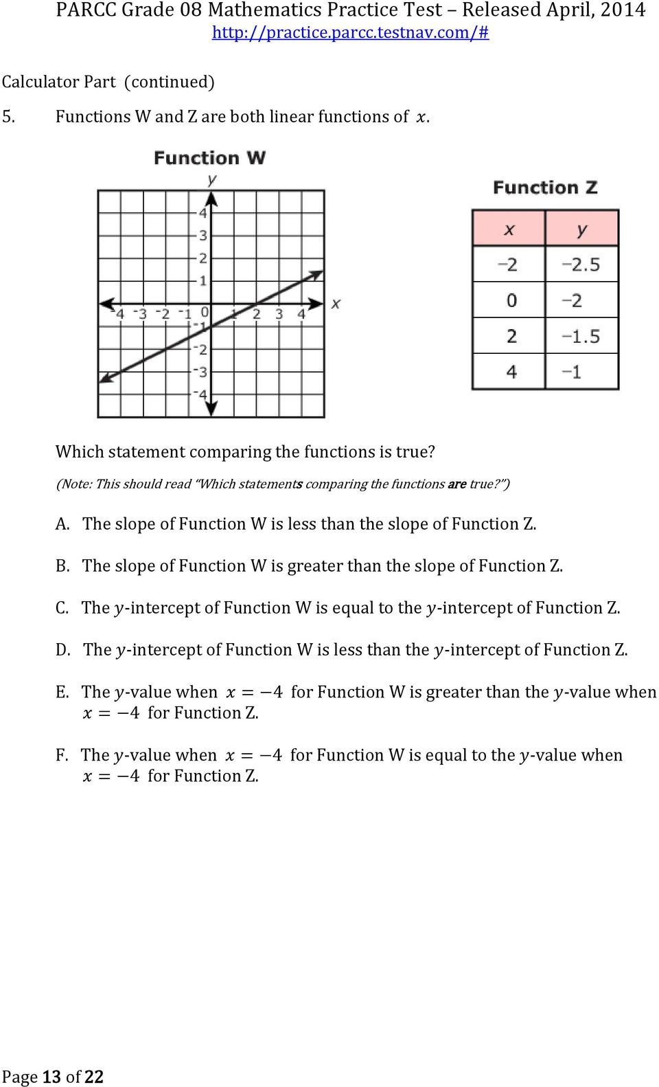 Parcc Math Spring 2017 Algebra 1 Released Items Answers