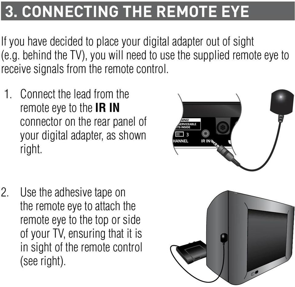 t (e.g. behind the TV), you will need to use the supplied remote eye to receive signals from the remote control. 1.