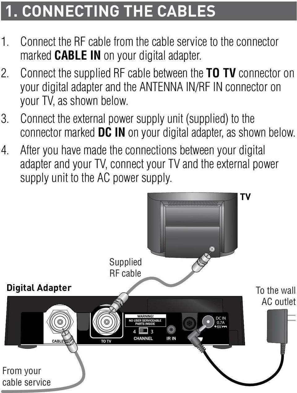 Connect the external power supply unit (supplied) to the connector marked DC IN on your digital adapter, as shown below. 4.