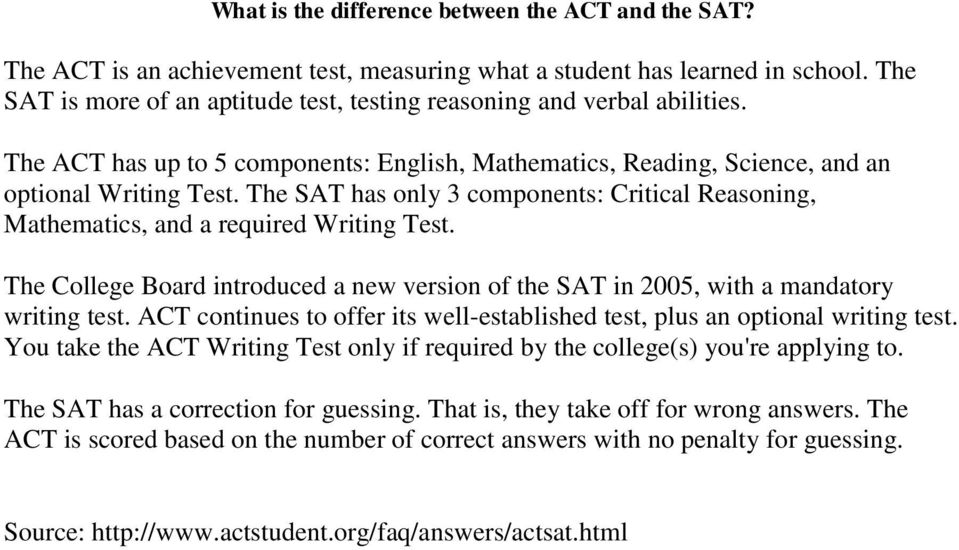 The SAT has only 3 components: Critical Reasoning, Mathematics, and a required Writing Test. The College Board introduced a new version of the SAT in 2005, with a mandatory writing test.