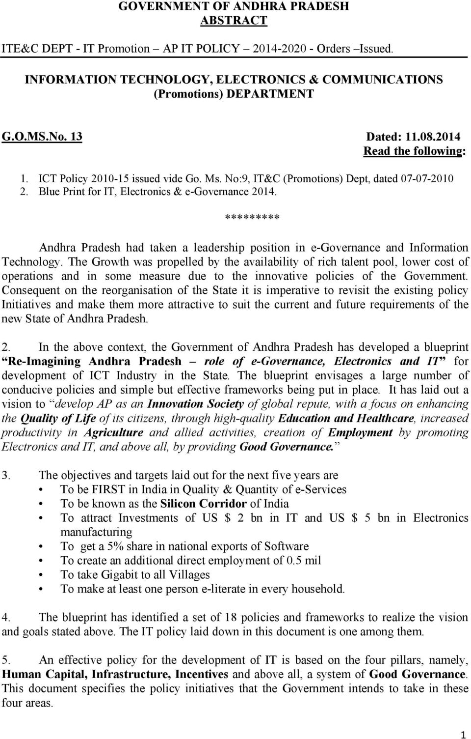 GOVERNMENT OF ANDHRA PRADESH ABSTRACT  ITE&C DEPT - IT