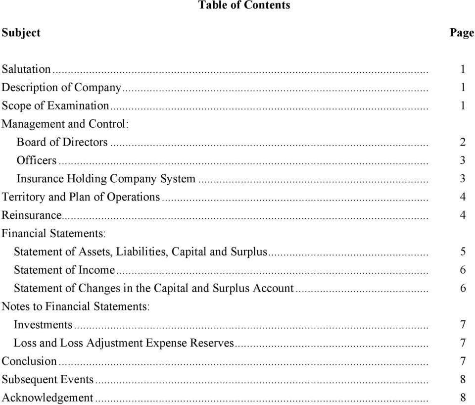 .. 4 Financial Statements: Statement of Assets, Liabilities, Capital and Surplus... 5 Statement of Income.