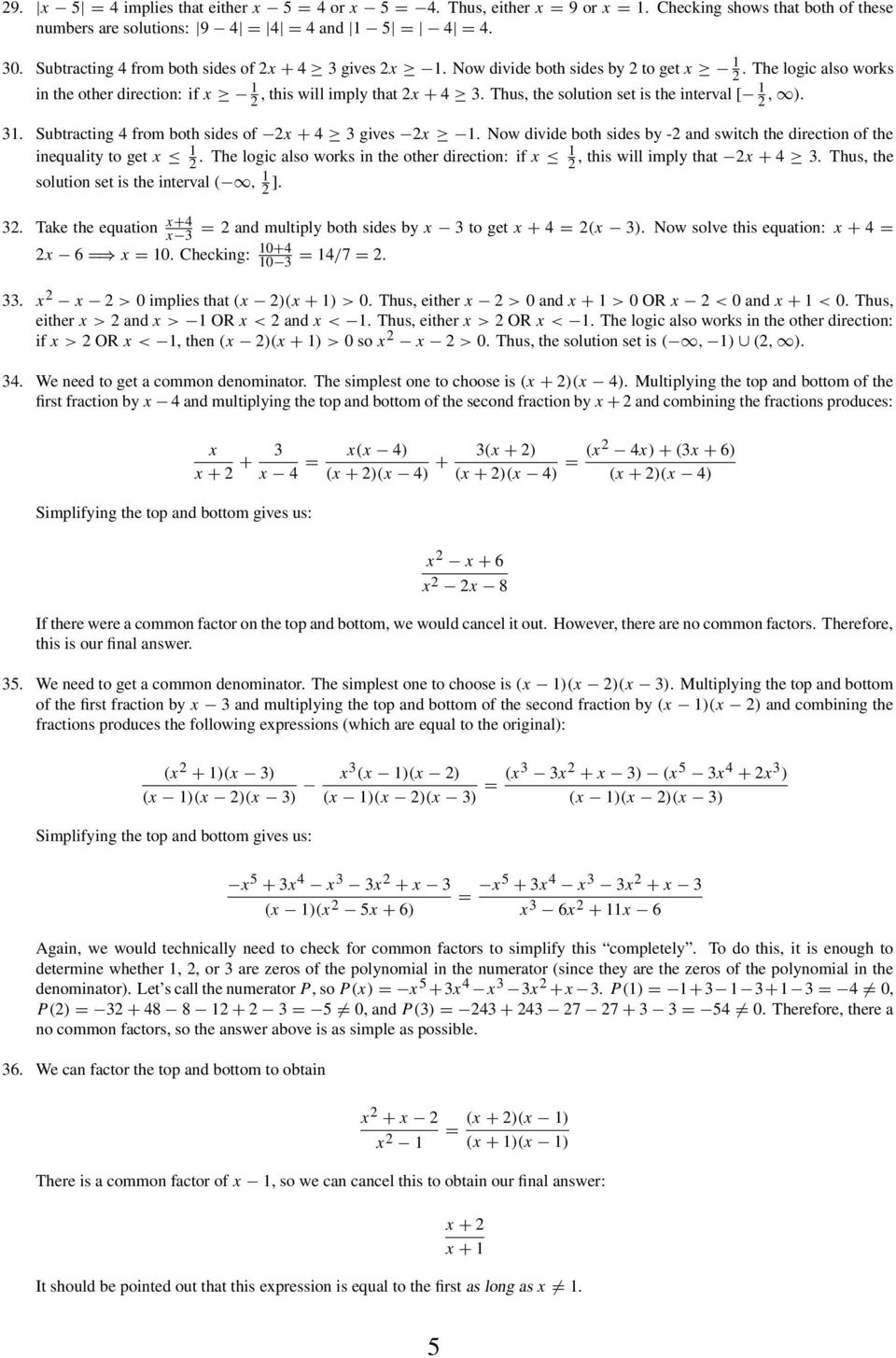 Algebra Practice Problems for Precalculus and Calculus - PDF