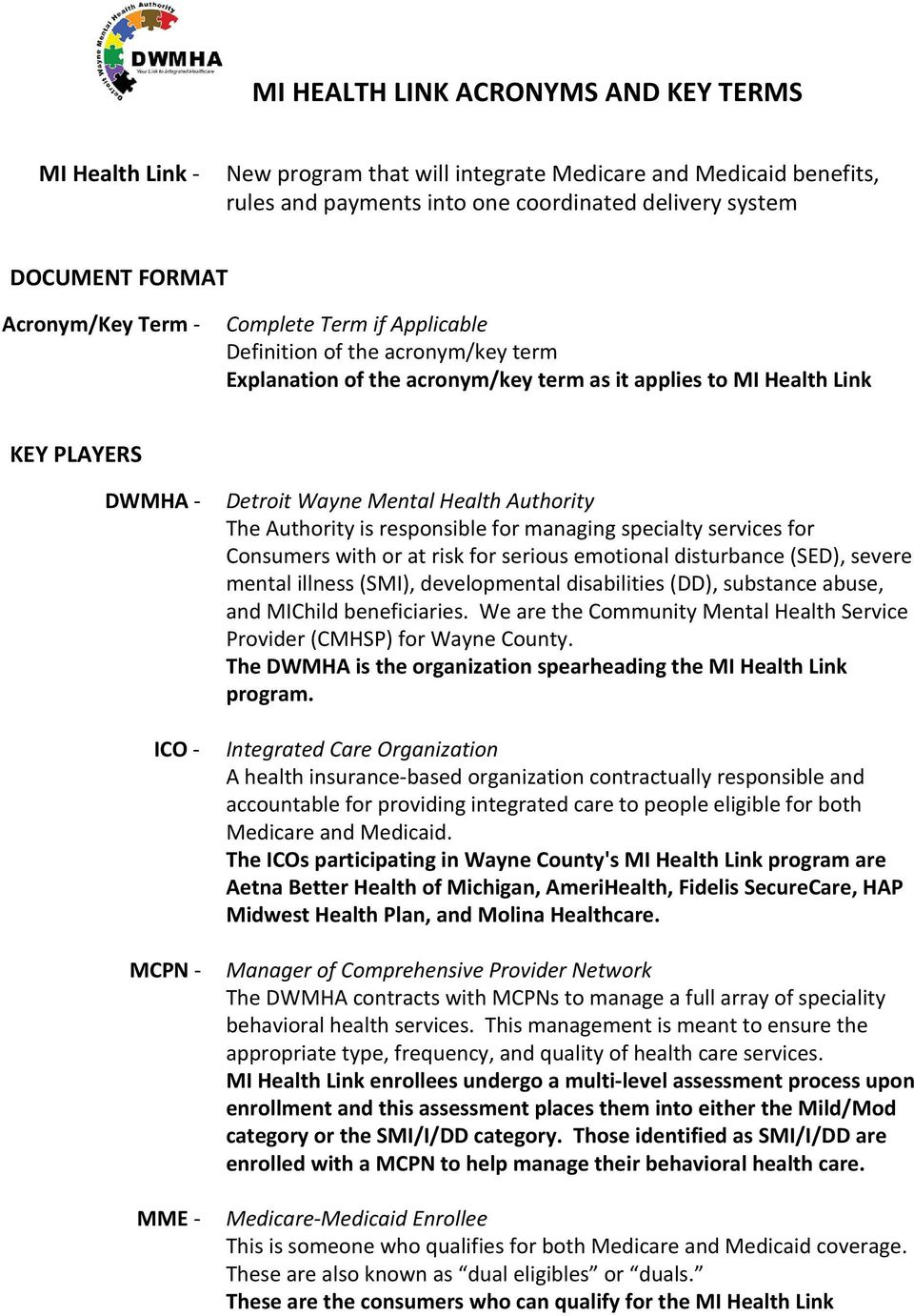 Mi Health Link Acronyms And Key Terms Pdf