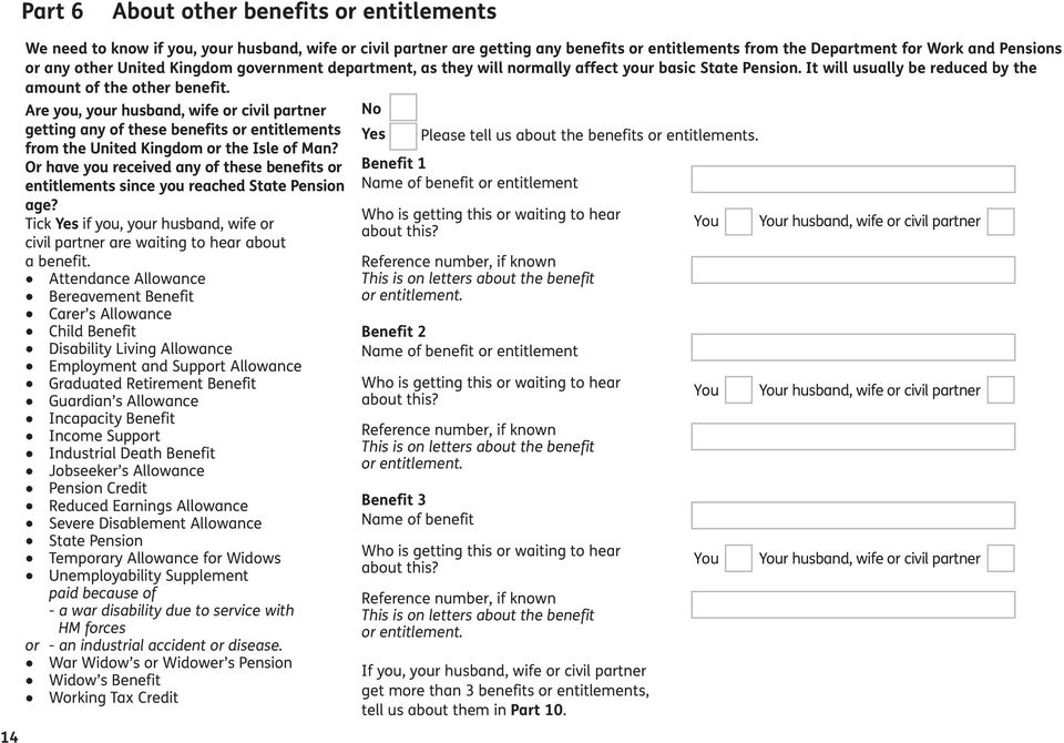 Are you, your husband, wife or civil partner getting any of these benefits or entitlements from the United Kingdom or the Isle of Man?