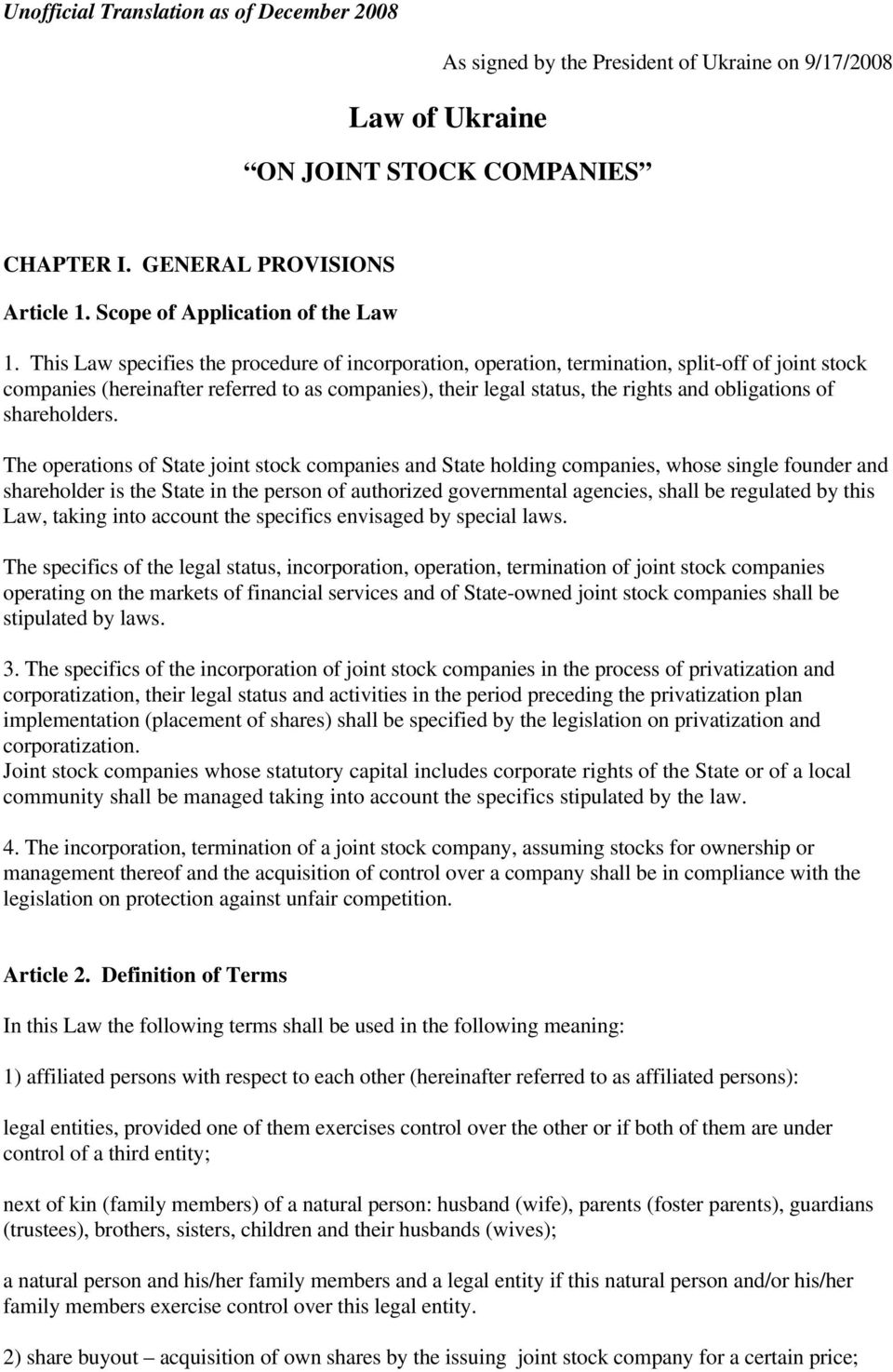 Ownership of legal entities. Definition Objects and Subjects 98