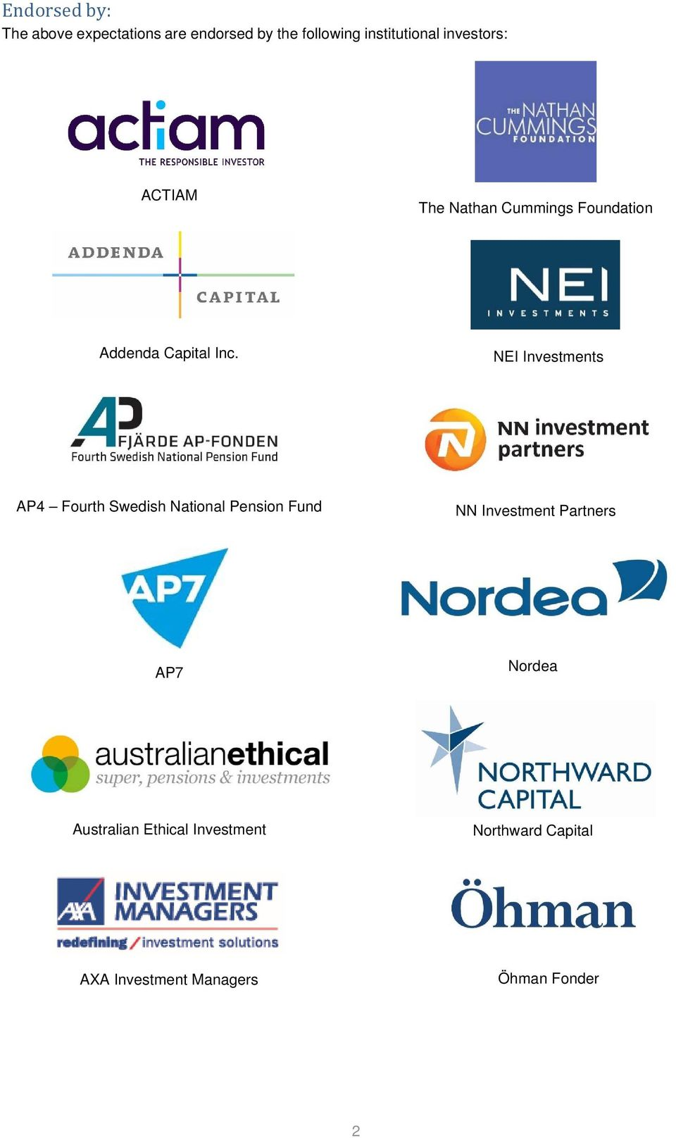 NEI Investments AP4 Fourth Swedish National Pension Fund NN Investment Partners