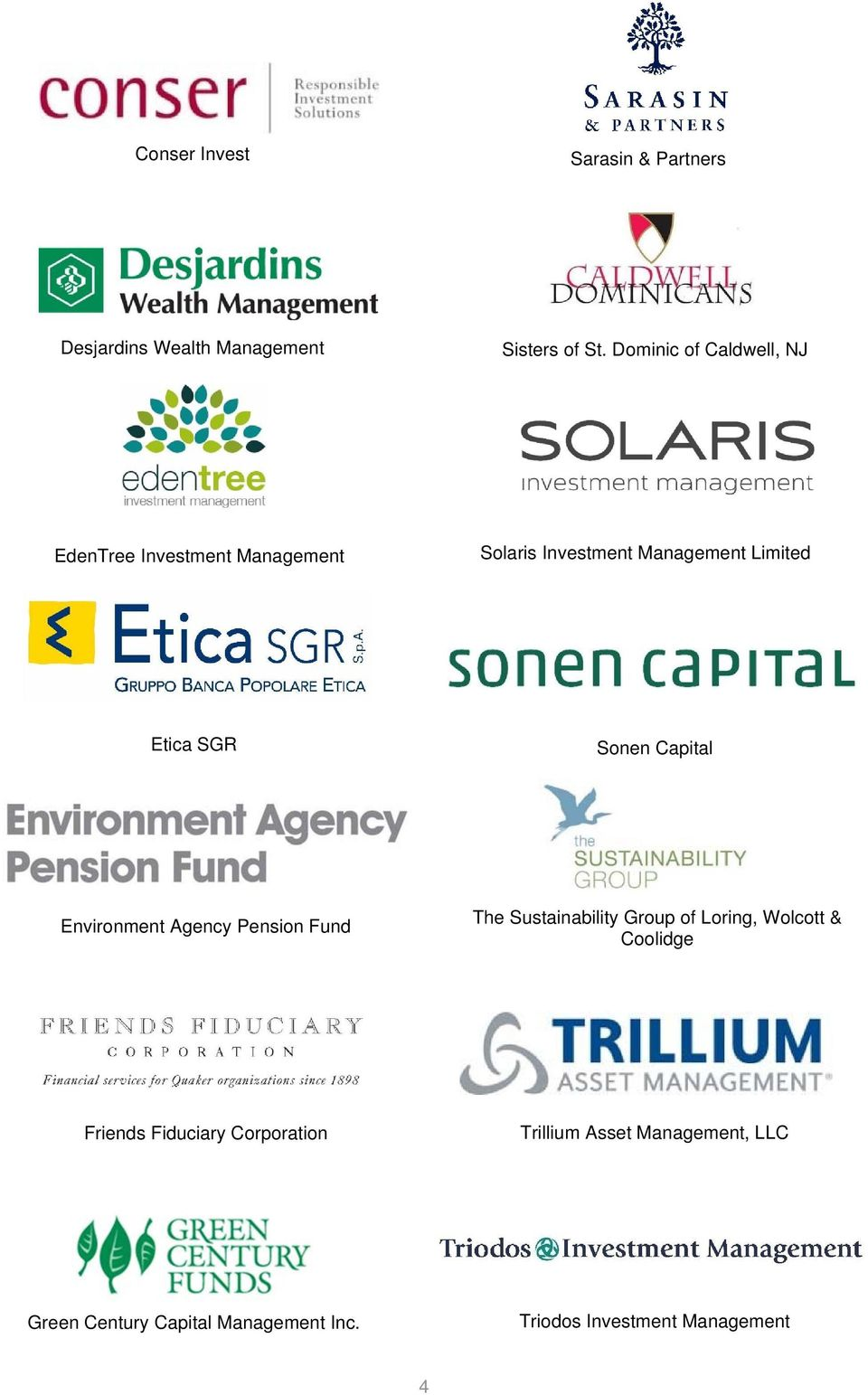 Sonen Capital Environment Agency Pension Fund The Sustainability Group of Loring, Wolcott & Coolidge