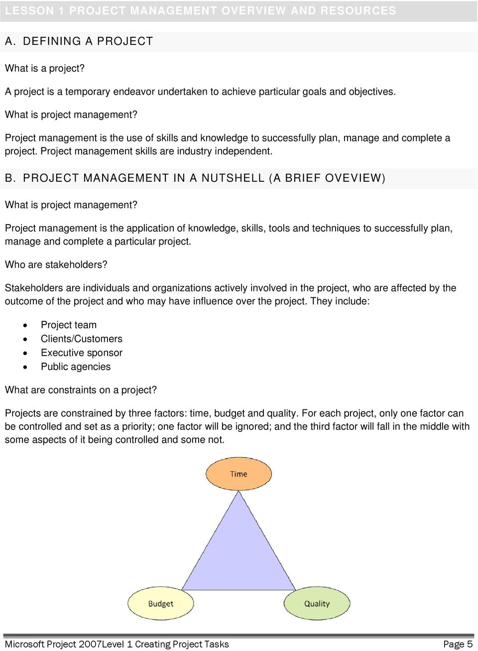 PROJECT MANAGEMENT IN A NUTSHELL (A BRIEF OVEVIEW) What is project management?