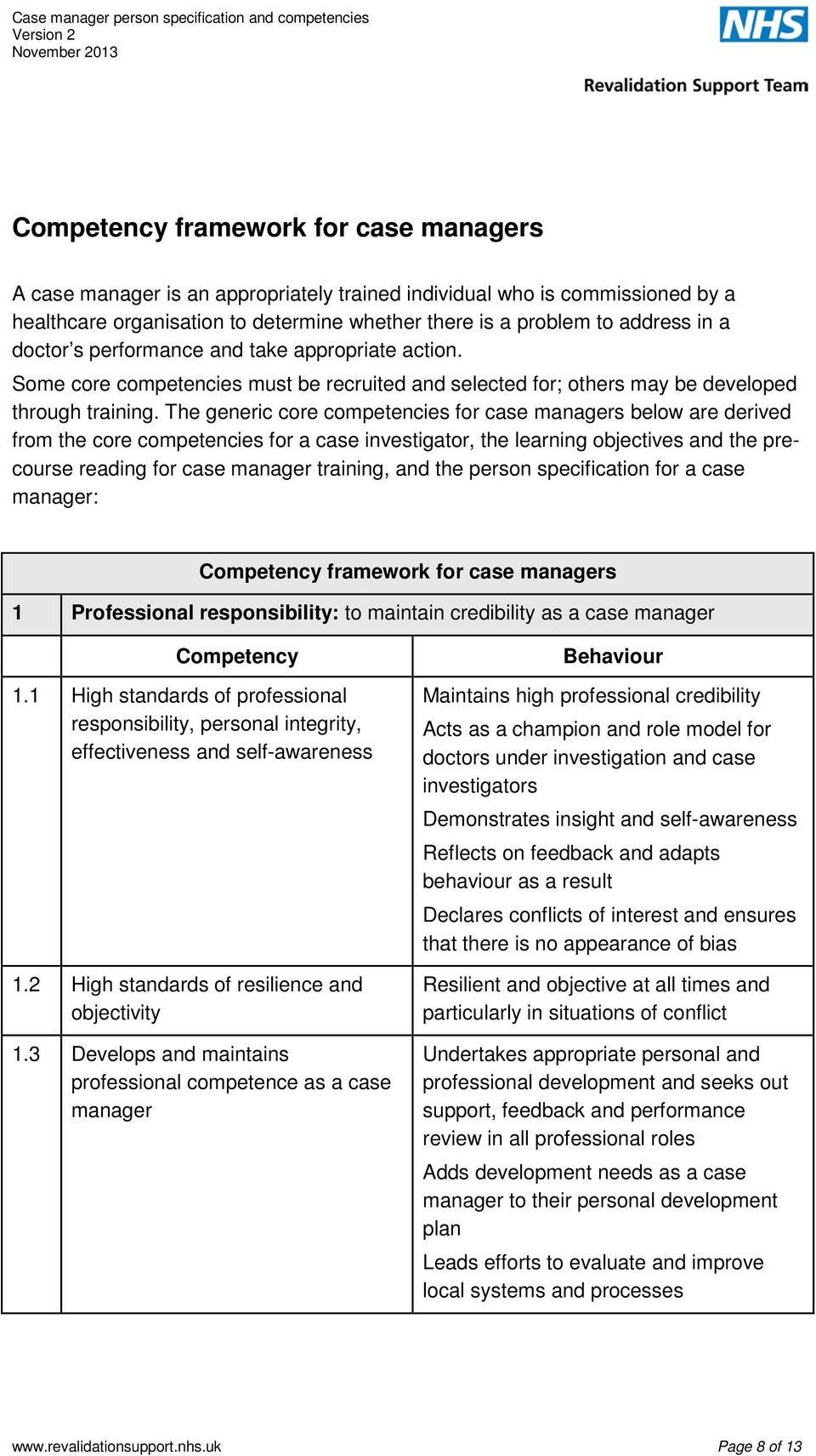 The Generic Core Competencies For Case Managers Below Are Derived From A