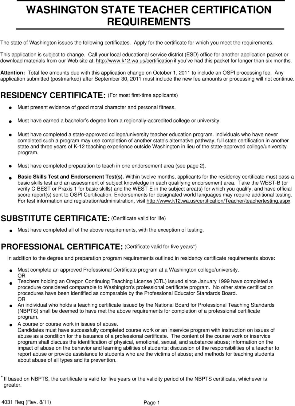Washington State Teacher Certification Requirements Pdf