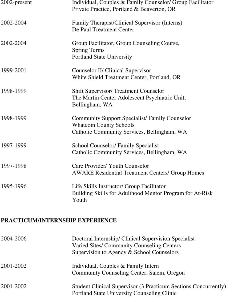 Counselor The Martin Center Adolescent Psychiatric Unit, Bellingham, WA 1998-1999 Community Support Specialist/ Family Counselor Whatcom County Schools Catholic Community Services, Bellingham, WA