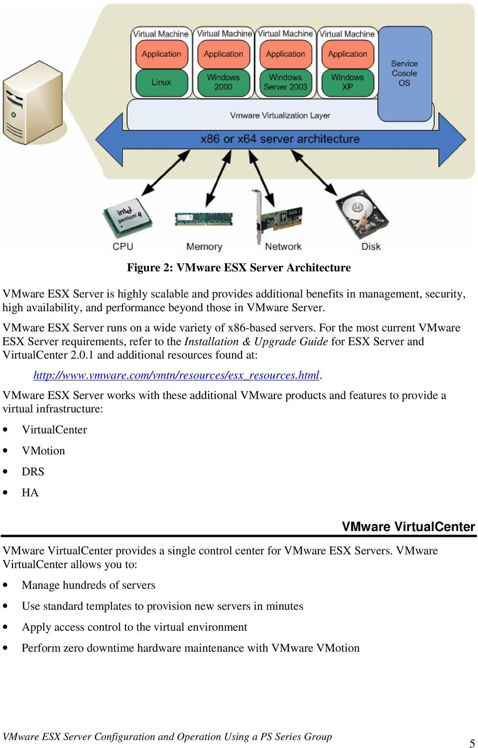 For the most current VMware ESX Server requirements, refer to the Installation & Upgrade Guide for ESX Server and VirtualCenter 2.0.1 and additional resources found at: http://www.vmware.