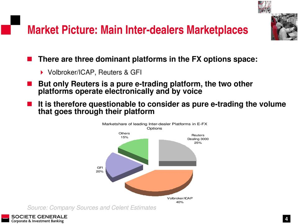therefore questionable to consider as pure e-trading the volume that goes through their platform Marketshare of leading