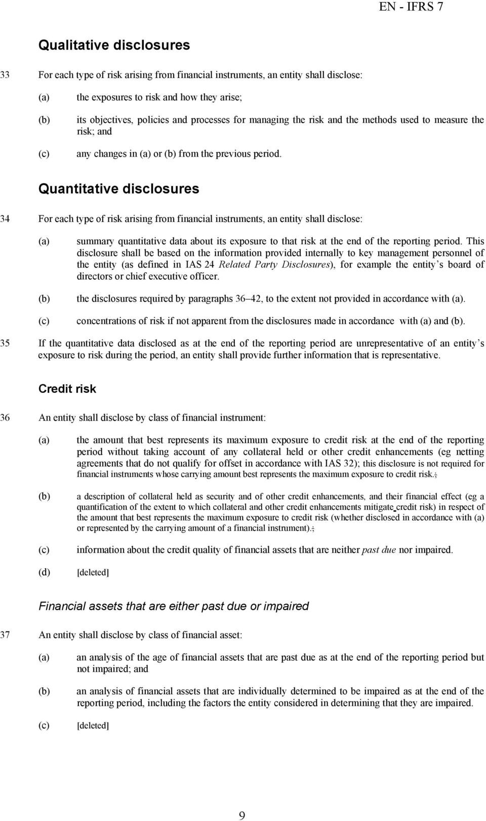 Quantitative disclosures 34 For each type of risk arising from financial instruments, an entity shall disclose: summary quantitative data about its exposure to that risk at the end of the reporting