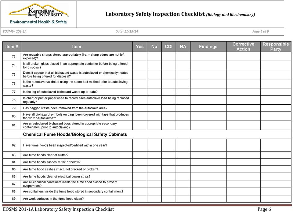 Laboratory Safety Inspection Checklist Biology And