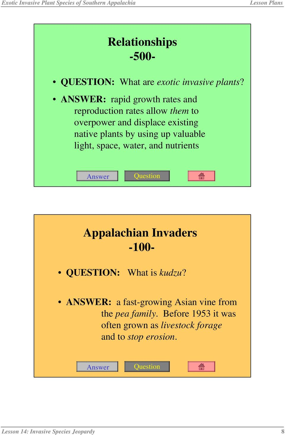 by using up valuable light, space, water, and nutrients Appalachian Invaders -100- QUESTION: What is kudzu?