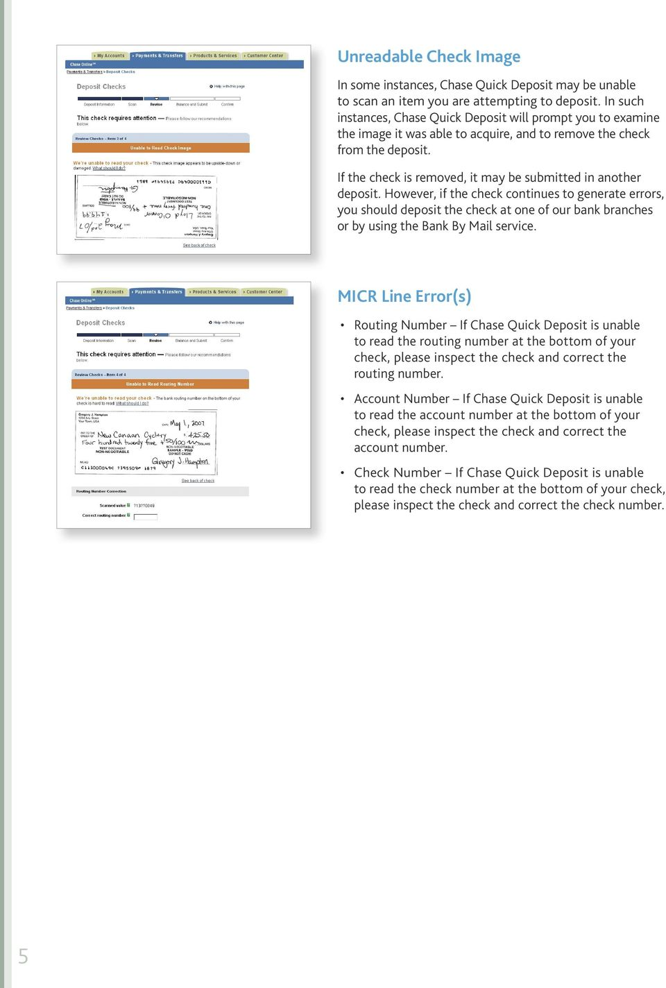 chase quick deposit. check scanning guide - pdf