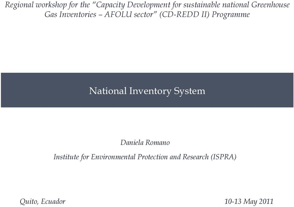 Programme National Inventory System Daniela Romano Institute for